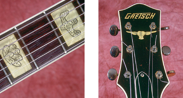 (LEFT) Pantographed cacti and steer's head fingerboard inlays – typical of 1954-'55 Round-Ups.