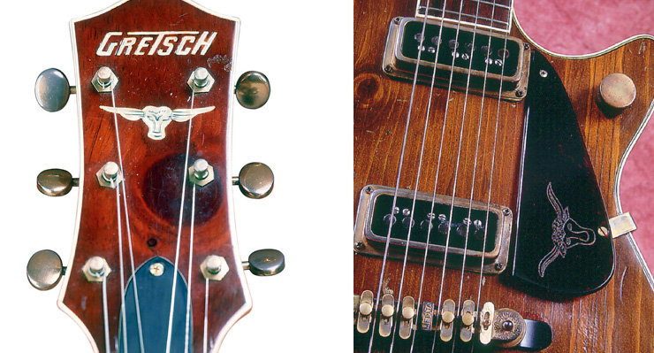 (LEFT) The knotty pine headstock overlay from the '54 Round-Up.
