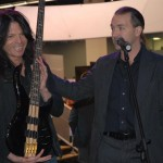 Rudy Sarzo with his new Peavey Cirrus signature bass with bamboo body segments on a maple/mahogany laminate neck.