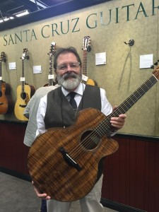 Santa Cruz Guitar Co is celebrating its 40th Anniversary with amazing guitars, like this Custom FS Model. With a body binding, back strip, and peghead overlay made of entirely Koa, the Custom FS also boasts an Abalone rosette and top purfle.