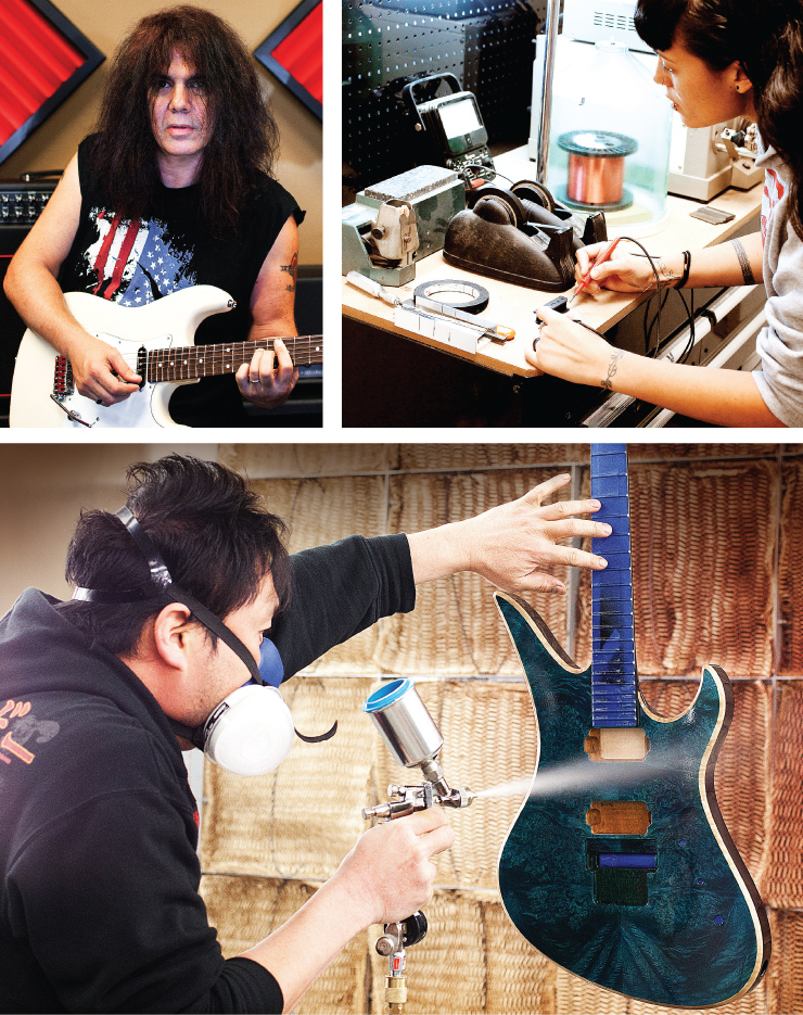 (CLOCKWISE TOP LEFT) Michael Ciravolo has guided the Schecter ship since 1995. Harkening to the company's earliest days, a worker winds pickups. Shigeki Aoshima in the spray booth.