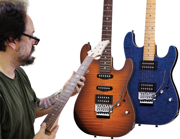(LEFT) John Gaudesi inspects the neck of a Masterworks guitar. (RIGHT) Schechter's USA Production CET guitars offer a healthy dose of vintage appeal.