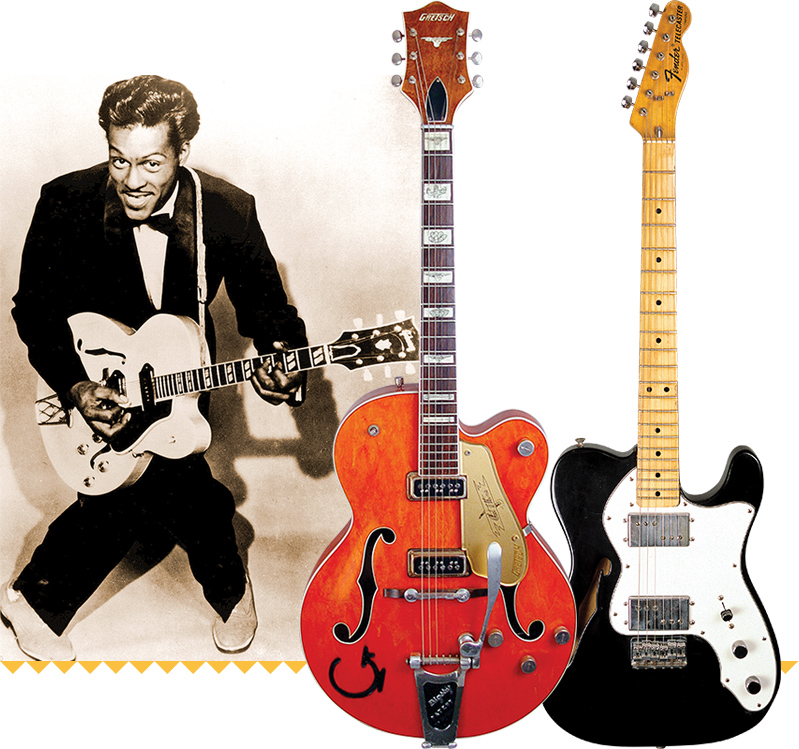 Chuck Berry. '59 Gretsch 6120 (MIDDLE): Dave Rogers/VG Archive. '74 Fender Tele Thinline: Dave Rogers/VG Archive.