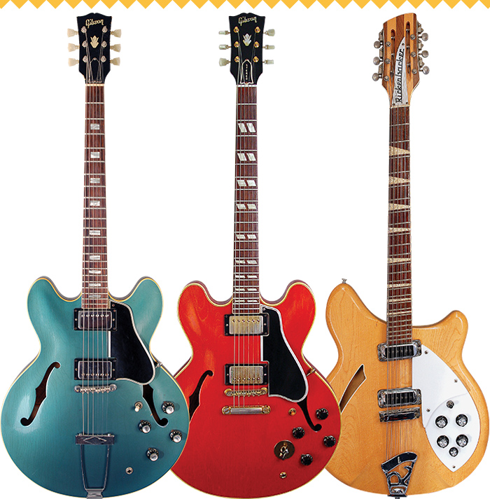 (LEFT TO RIGHT) '66 Gibson ES-335 in Pelham Blue. 1960 Gibson ES-345TD. '71 Rickenbacker 360/12. Gibson ES-335 and Rickenbacker 360/12: VG Archive. Gibson ES-345TD: Dave Rogers/VG Archive.
