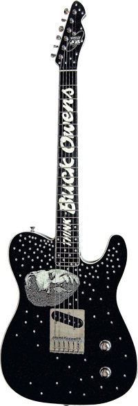 The John Bolin-made guitar presented to Buck by Billy Gibbons.