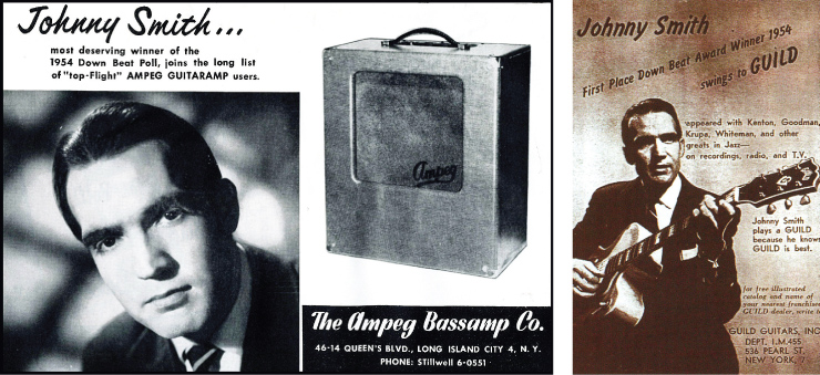 Guild and Ampeg were happy to mark their partnerships with Smith by placing ads touting Smith's recognition by Downbeat magazine.