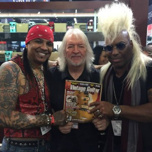 He may already be in the #VintageGuitar Hall of Fame, but Seymour Duncan still enjoys the magazine with his friends, Micki Free and Jean Beauvoir! #NAMM2015 #pickups #pedals #guitarlove #NAMM #NAMMshow #legend #SeymourDuncan #BeauvoirFree #NAMM15 — in Anaheim, California.