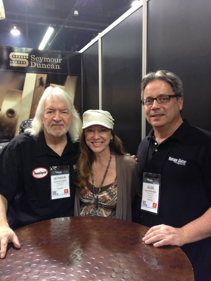 Seymour Duncan with VG's Dawn Flanagin and Alan Greenwood at the Seymour Duncan booth.