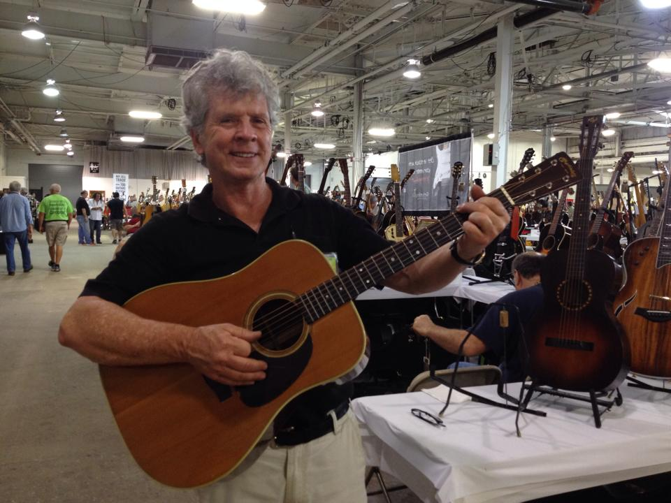 Show promoter Gary Burnette of Bee-3 Vintage with a super clean '54 Martin D-28.