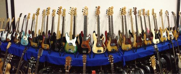 SoCAL World Guitar Show - Panoramic of great Fender basses.