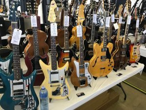Some cool old Tiesco Del Reys, Univox and Silvertone electrics among the Gibsons