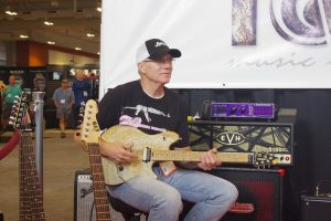 Chris Poland helped showcase Floyd Rose's new Granite Stone Tone sustain enhancer.