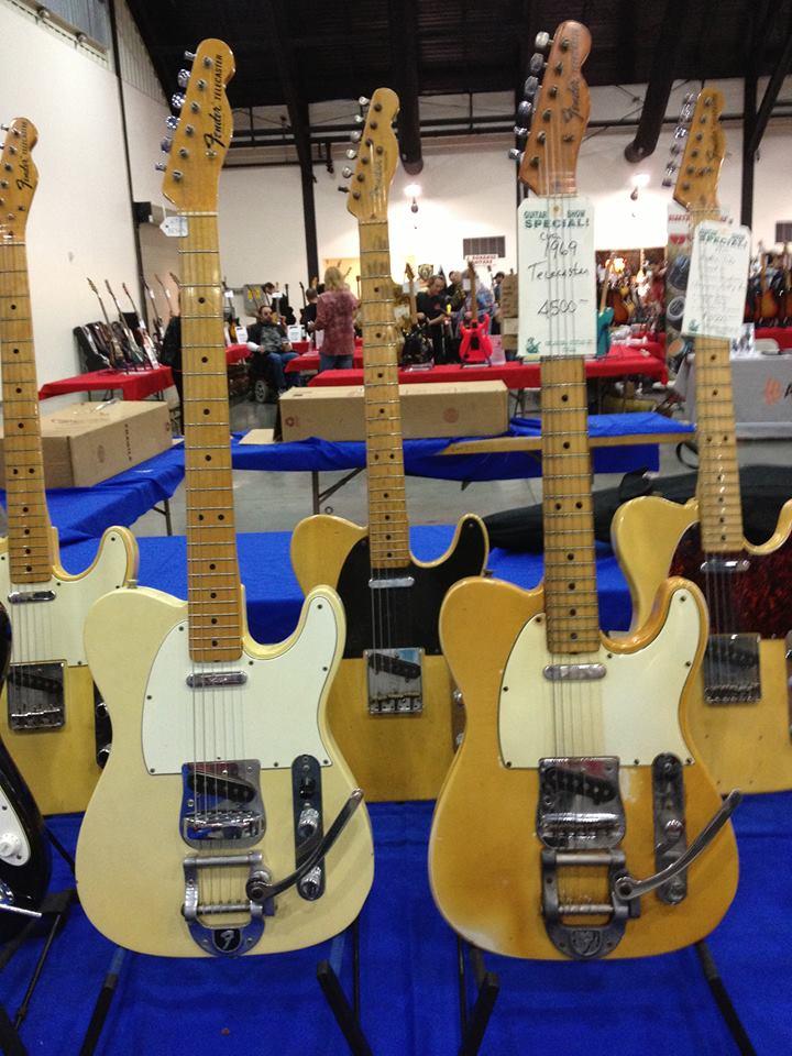 More Orange County Guitar Show - Teles with Bigsbys! A '67 from Lone Wolf Guitars and a '69 from Strings West that spent serious time in smoke-filled bars.