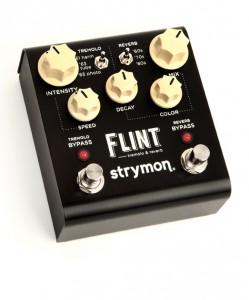 STRYMON FLINT THREE QUARTERStrymon continues to raise the bar on what players can expect out of a stompbox. Having already stifled analog traditionalists with offerings like the El Capistan digital tape echo, these guys recreated the tremolos and reverbs from classic amps in a single pedal named Flint.