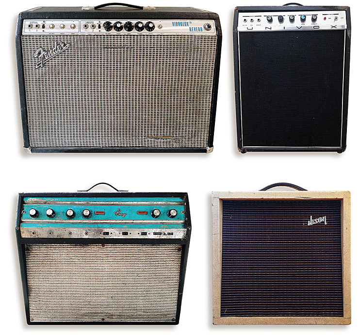 "(CLOCKWISE) Johnny Moeller's Fender Vibrolux he uses on local gigs. Moeller's amps include a a solidstate '70s Univox, a Gibson G-5 Skylark, and this vintage Kay Galaxy with two 12s he says is ""really good for raw, raunchy blues."""