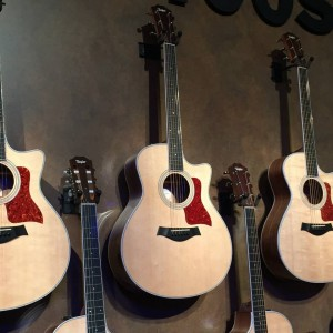 New appointments, custom voicing, hand-rubbed stain and torrefied spruce tops are just some of the unique details making up the new 400s from Taylor Guitars. #vintageguitar #NAMM2015 #NAMMshow #guitarlove #guitars #NAMM15 #taylorguitars #acoustic — in Anaheim, California.