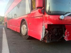 Cult experiences bus-crash scare.