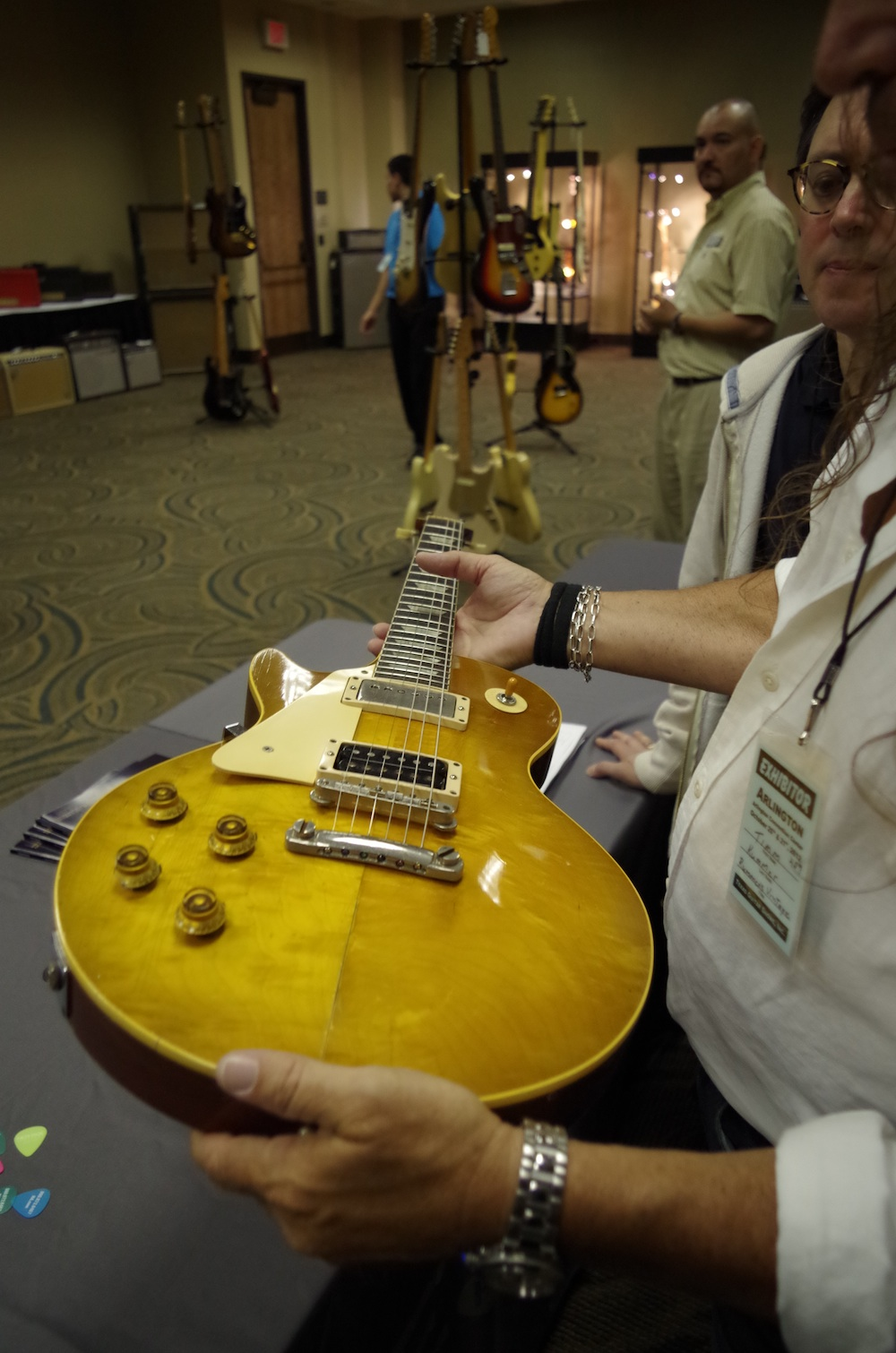 One of the left-handed Gibson Les Paul Standards in the Heritage booth.