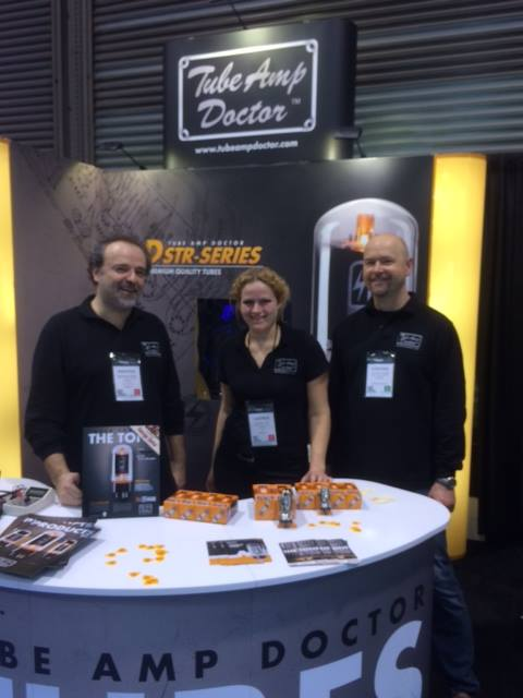 Andreas, Carmen, and Stephan in the Tube Amp Doctor booth.