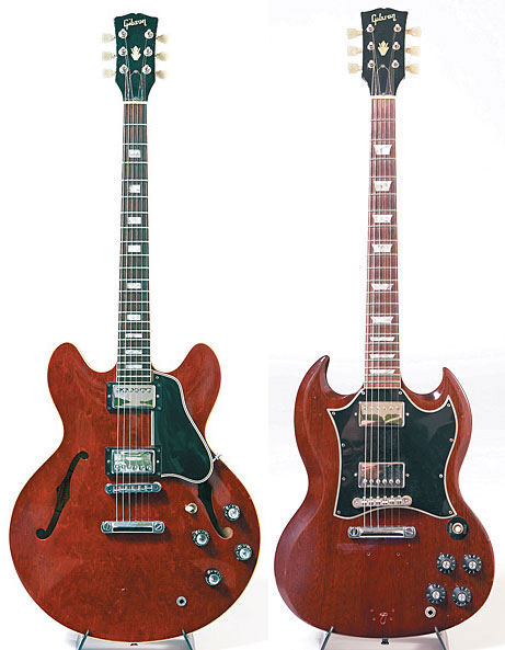 '65 Gibson ES-335. This '66 Gibson SG was Verheyen's first guitar