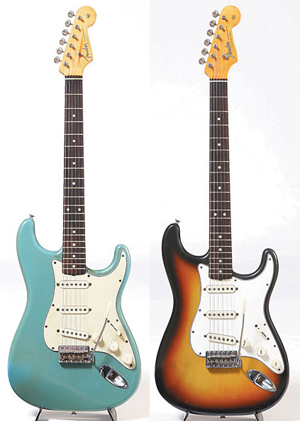 '61 Fender Stratocaster in Sea Foam Green. '65 Fender Stratocaster with L serial number.