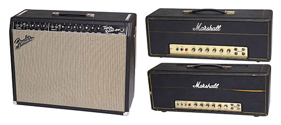 '64 Fender Twin-Reverb. This '68 50-watt plexi is Verheyen's favorite Marshall amp. '69 Marshall 100-watt.