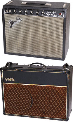 "Verheyen calls the '60s Fender Princeton ""a perfect reference point."" He has three of them, from 1965, '66 and '67. '64 Vox AC30 ""Top Boost""."