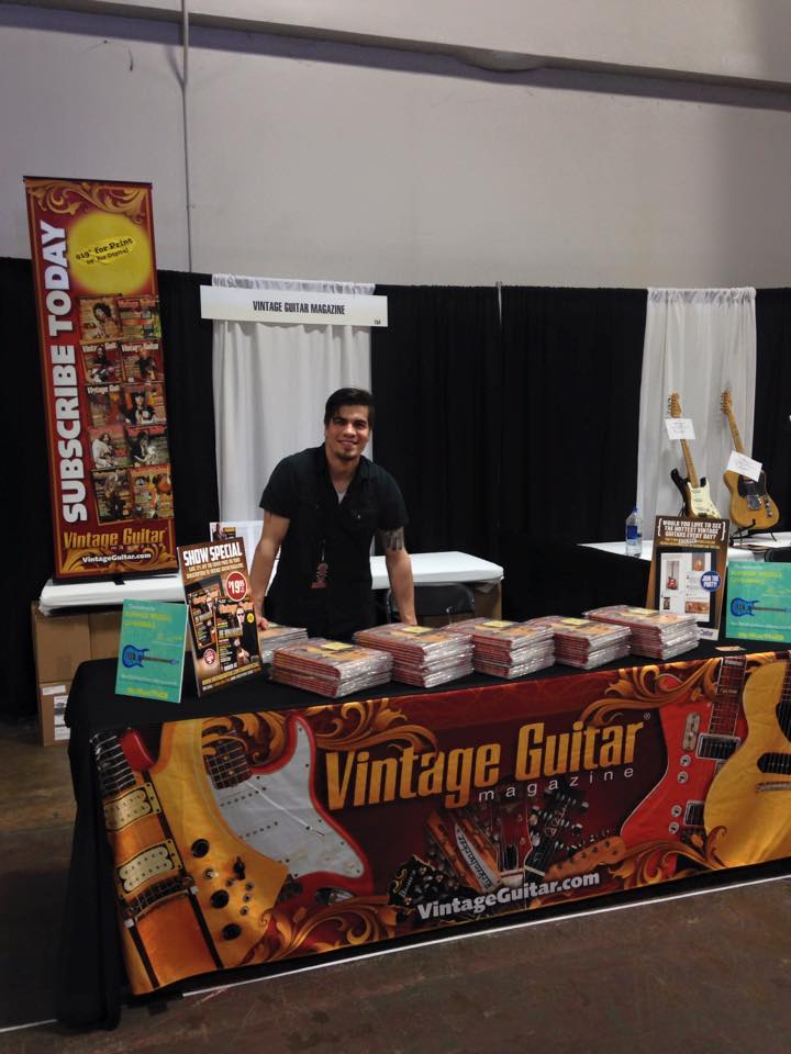 Setting up the VG booth at the Dallas International Guitar Festival.