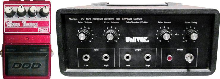 DOD Vibro Thang and Univox tape-echo