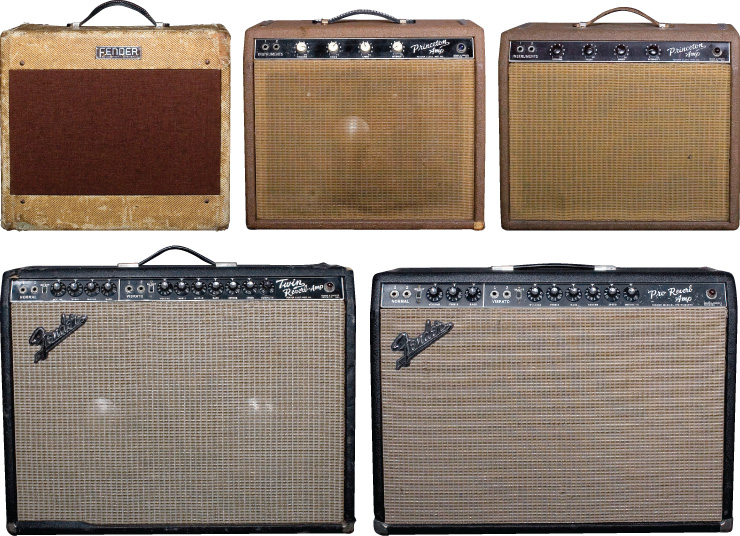 (CLOCKWISE) Vivino's Fender-heavy amp stall includes this '53 Deluxe that has been part of his sound for years, two '61 Princetons, a Twin from '64, and a '64 Pro-Reverb. Amplifier photos by Barre Duryea.