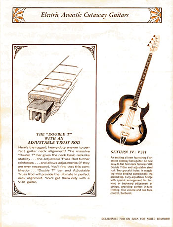 A diagram in the '68 Vox catalog touted the brand's Double T neck support.