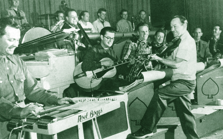 Noel Boggs (left, on steel) with Jimmy Wyble rehearsing for an appearance on Spade Cooley's televsion show in 1951.