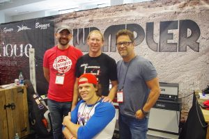 "John ""Elmo"" Szetela, Brian Wampler, Brent Mason, and Martin McDaniel convened at the Wampler booth."