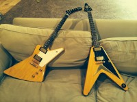 Gibson 2008 50th anniversary Korina Explorer and Korina Flying V