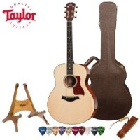 Taylor Guitars 518e with Deluxe Brown Taylor Hardshell Case and Taylor Pick, Strap, and Stand Bundle