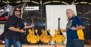 Three '59 ES-345s brought together at the show by Drew Berlin (L), Gary Dick (not pictured), and Willie Smith. Willie's is in the center – he still gigs with it regularly.