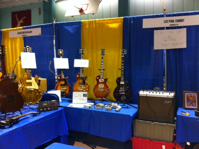 A quiet shot of just a sample of the Les Paul exhibit during set up at the 4th Annual NY Guitar Show.