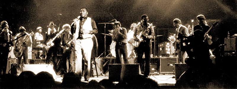 "An all-star blues jam, featuring Muddy Waters – that's Rod on the far right; he described himself as being ""in ecstasy."
