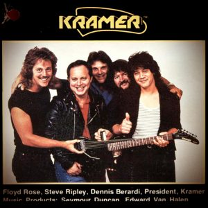 The hang tag for the Kramer-Ripley Stereo Guitar featured this shot of the company's all-star lineup, including (from left) tremolo innovator Floyd Rose, Ripley, Kramer president Dennis Berardi, pickup guru Seymour Duncan, and the one and only Edward Van Halen.