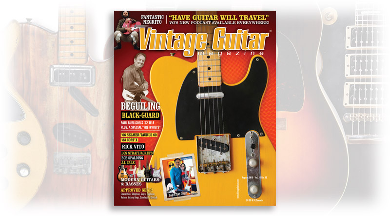 Survey Graphic for the august 2019 issue of Vintage Guitar magazine