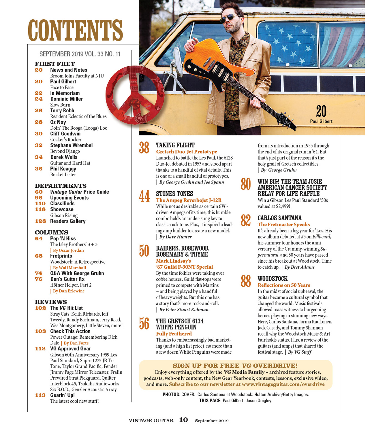 September 2019 Table of Contents Vintage guitar magazine Paul Gilbert