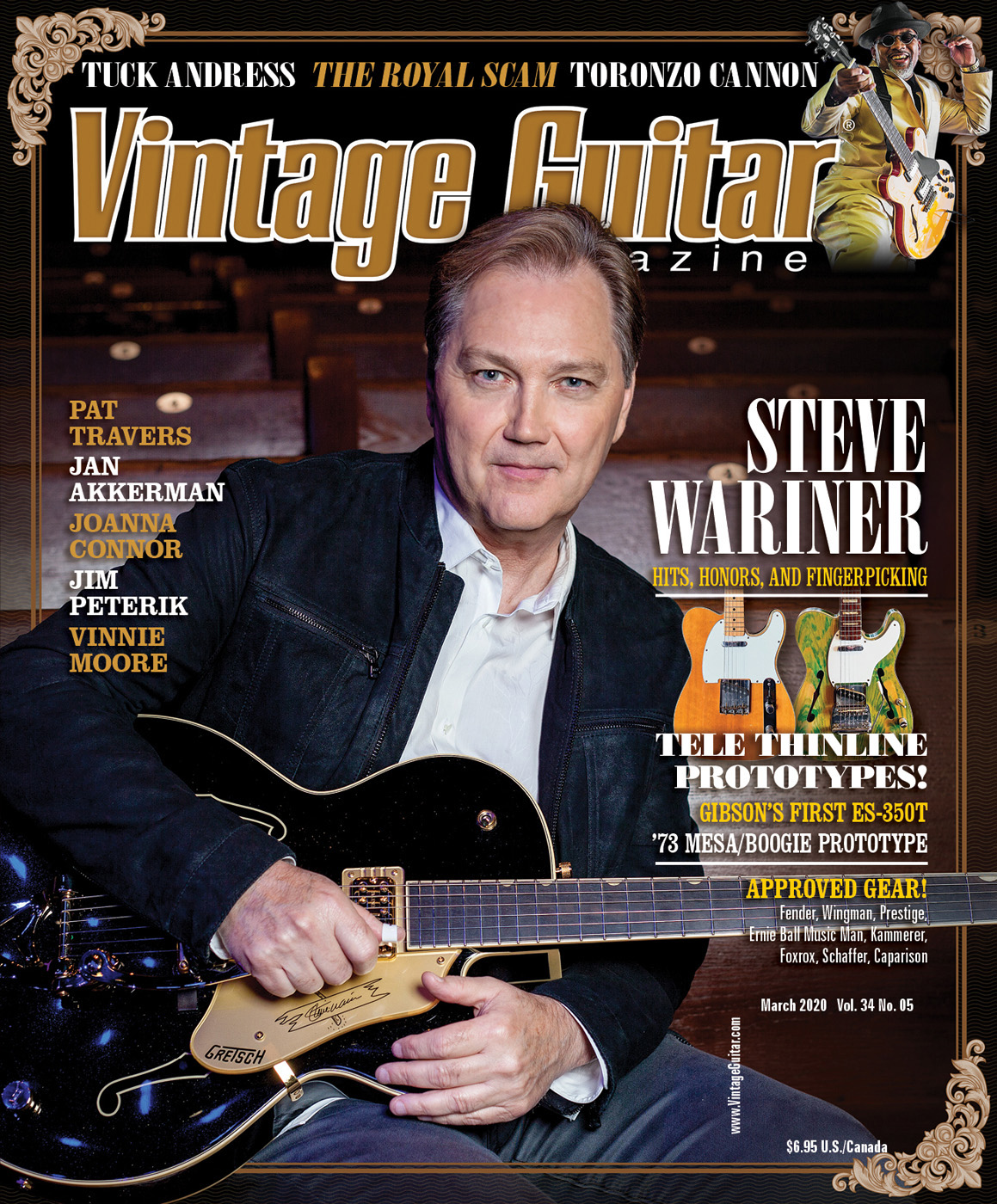Vintage Guitar magazine, March 2020 Issue, Steve Wariner, Fender Tele Thinline Prototypes, Toronzo Cannon
