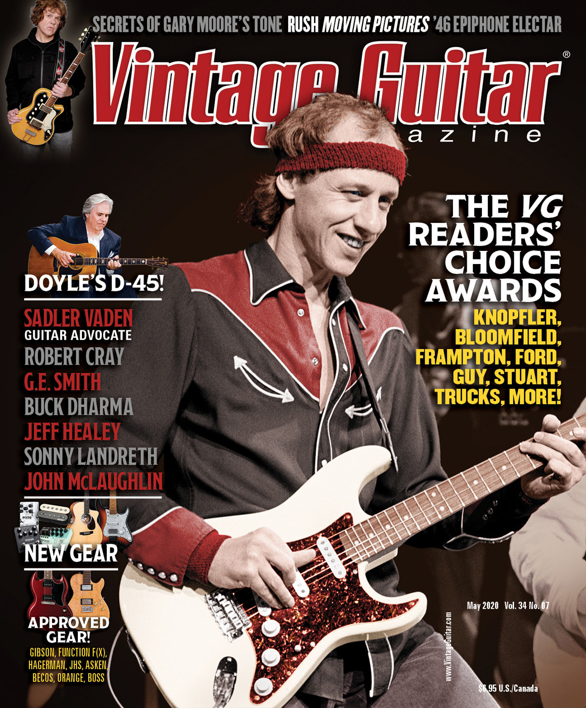 Vintage Guitar magazine May 2020 The VG Readers' Choice awards featuring Mark Knopfler