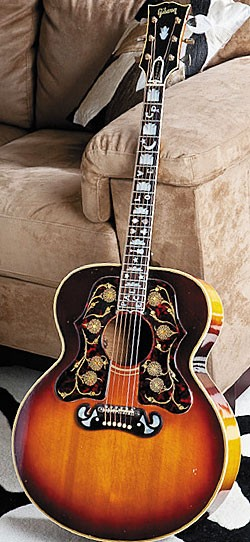This '65 Gibson J-100 was ordered from the factory with two pickguards - one for a J-100 and a J-200.