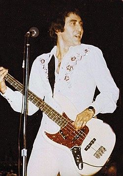 Long onstage with his Jazz Bass during the glory days of the Four Seasons.