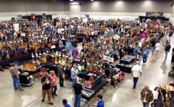 Overview of the electric room at Guitarlington guitar show, taking place this weekend in Arlington, TX.