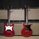 Smells like vintage. 1965 Vibro Champ, 1966 Princeton, 1965 Princeton Reverb, 1965 Vibrolux Reverb, 1965 Deluxe Reverb, 1965 Ampeg Reverberocket. In the front are a 1963 Epiphone Coronet and a 1959 Gibson Les Paul Junior.