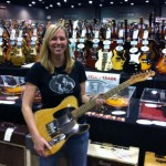 Cathy from Jim's Guitars with one of Danny Gatton's Telecasters