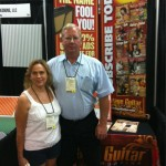 Dwain Cornelius and Suzanne Holzhaus from Hill Country Guitars stop by the VG booth.