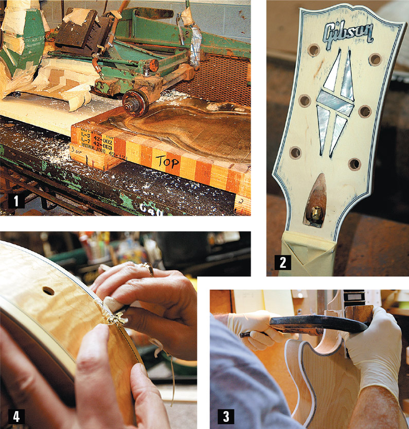 "1) One of two vintage carving machines converted from steam power. 2) An unfinished holly headstock veneer. 3) A freshly set neck gets the clamp. 4) Paint being ""scraped"" from the binding of a Les Paul."